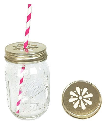 Just Artifacts 12pcs Regular Mouth Mason Jar Daisy Lid Gold - LID ONLY