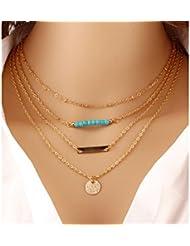Glitz Fashion Multilayer Chain Necklace Steampunk Bohemia Blue Bead Body Chain Necklaces For Women