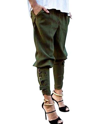 StyleDome Pantaloni Lunghi Casuali Eleganti Ufficio Sport Jogging Cotone per Donna Verde Militare IT 46