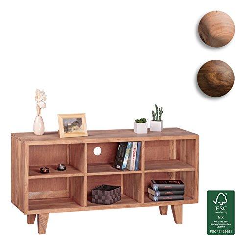 FineBuy-Lowboard-Massivholz-Akazie-Kommode-118-cm-TV-Board-6-Fcher-Landhaus-Stil-dunkel-braun-Unterschrank-TV-Mbel-Echt-Holz-Hifi-Rack-60-cm-hoch-Sideboard-Deko-Fernsehschrank-offen-Natur-Produkt