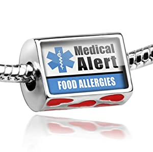 """Neonblond Bead Red Love Heart Medical Alert Blue """"Food Allergys"""" - Fits Pandora charm Bracelet from NEONBLOND Jewelry & Accessories"""