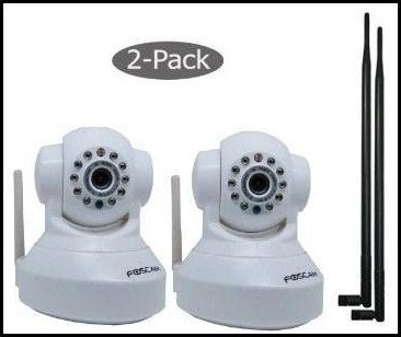 Foscam FI8918W Wireless IP Camera, White (2-Pack)