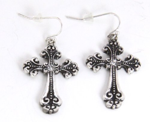 5030021 Cross Christian Religious Earrings Silver