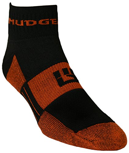 MudGear Trail Socks ¼ Crew (2 Pair Pack) - Trail Running, Obstacles Courses, and Adventure Racing (Med, Black)