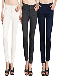 NGT Womens Formal White, Grey And Navy Blue Trouser In Special Quality.