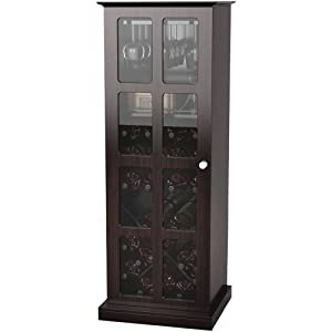 Atlantic 94835842 Windowpane 24 Wine Cabinet, Espresso