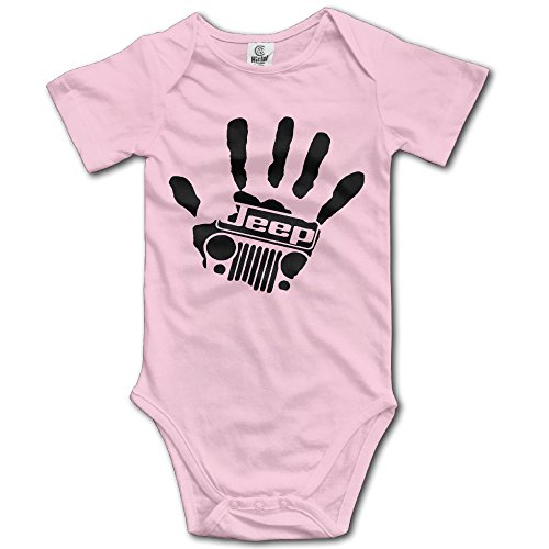 Little Boys Girls Jeep Wave Handprint Short Sleeve Bodysuit Romper
