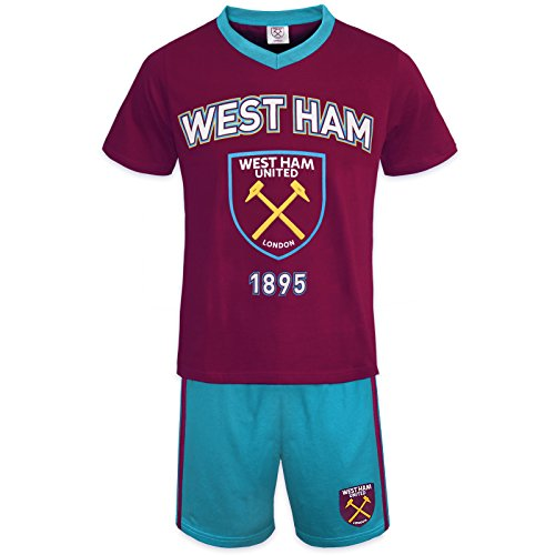 West Ham United FC Official Soccer Gift Boys Short Pajamas Claret 8-9 Years (West Ham United Fc Shorts compare prices)