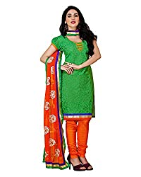 Maruti Suit Women's Kora Silk Regular Fit Suit (Me1004, Green, Free Size)