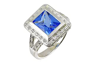 Silver Cubic Zirconia and Blue Topaz Cluster with Cubic Zirconia Shoulders Ladies' Ring Size R