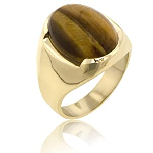 "14K Yellow Gold Men's""Tiger Eye"" Stone Ring
