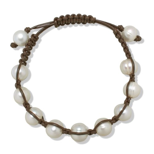 Valero Pearls Fashion Collection Damen-Armband Hochwertige Süßwasser-Zuchtperlen in ca.  9 mm Oval weiß  Leder braun  18 bis 33 m   60020026