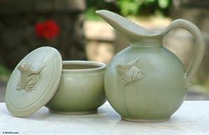 Ceramic sugar bowl and creamer set, 'Frog Fancy'