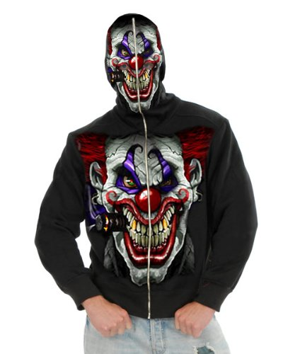 Charades Mens Scary Evil Joker Clown Halloween Costume Hoodie