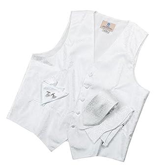 VS1004-S White Pattern Mens Vest Tie Cufflinks Bowtie Hanky Gift Dad By Y&G