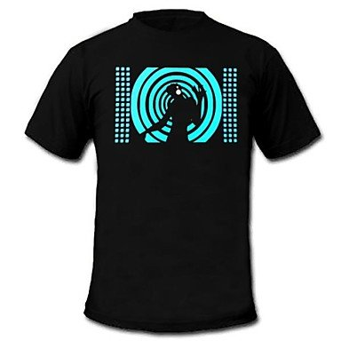 Bright-Ddl Mens Light Up T-Shirt Sound And Music Activated Equalizer Led El Velcro Panel Machine Washable Party Bar Raver Festival , L