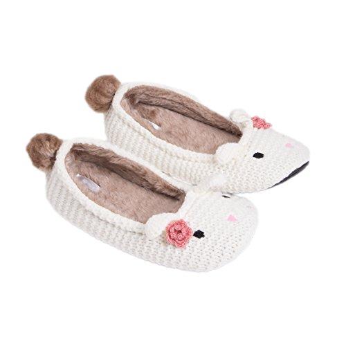 3e71043d1 MiYang Women s Super Soft Bunny Ballerina Slipper White S