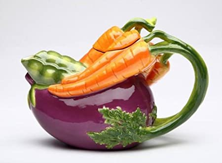 11 ounce Ceramic Teapot With Purple Eggplant And Carrot Shape