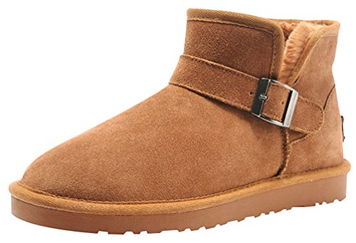 Rock Me Fluff Opening Collar Knitting Buckle Men Ankle Snow Boots Gentle I(8 D(M) Us, Chestnut) back-416871