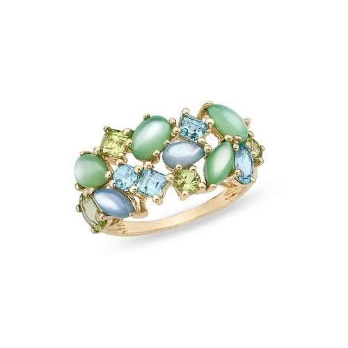 Mother of Pearl, Blue Topaz and Peridot 14K Yellow Gold Ring