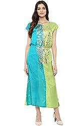 Akkriti by Pantaloons Women's A-Line Dress ( 205000005637595, Turquoise, X-Small)