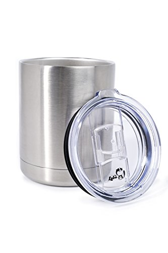 10 OZ Stainless Steel Vacuum Insulated Spill Proof Lid Lowball Tumbler Rambler Flash Traveler Mug Thermos Cup Perfect for Tea | Coffee | Water | Indoor & Outdoor