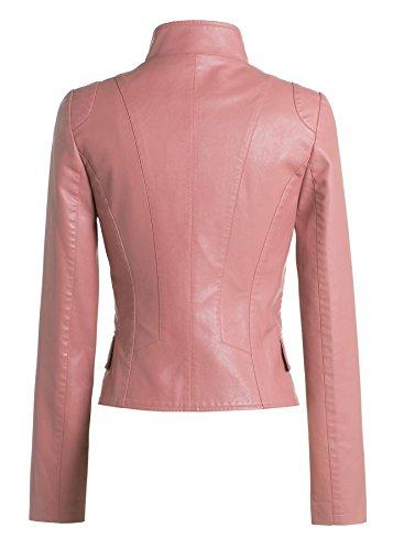 Women Slim Lapel Faux Leather Zip-Up Power Shoulder Bomber Moto Jacket Pink