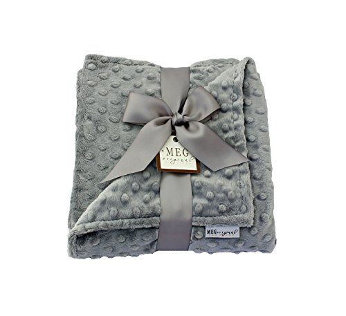 MEG Original Double-Sided Silver Gray/Grey Minky Dot Baby Blanket