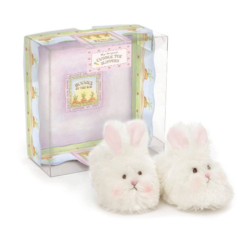 Bunnies by the Bay Cuddle Toe Slippers, White, 6-12 Months