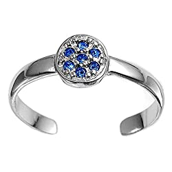 Sterling Silver Fashion Toe Ring - Floral with Blue Sapphire CZ - 2mm Band Width
