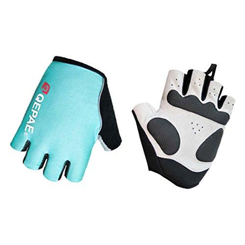 Lerway MTB Half Finger Fingerless Short Bicycle Bike Cycling Gloves (Light Blue, L)