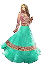 Decent World Green Net Bridal Dress Material