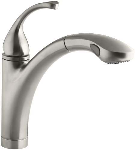 KOHLER K-10433-VS Forte Single Control Pullout Kitchen Sink Faucet with Color-Matched Sprayhead and Lever Handle, Vibrant Stainless