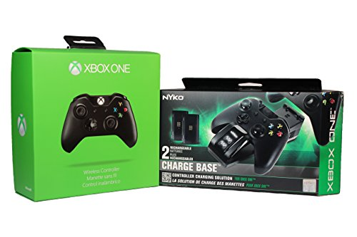 Xbox One Wireless Controller + Nyko Charge Base For 2 Wireless Remotes With 2 Rechargeable Batteries Included