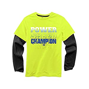 Champion Boys' Hangdown T-Shirt C8460H S, Neon Sun/Black