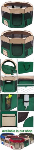 """57"""" Xl 2-Door Pet Dog Playpen Cage Puppy Soft Exercise Crate Pen Kennel Green"""