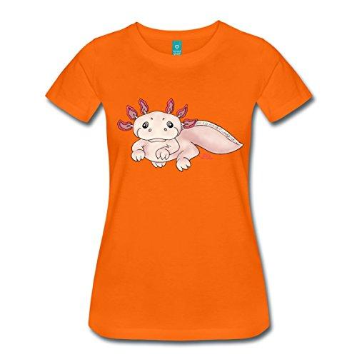 Spreadshirt Damen Axenia Axolotl T-Shirt, orange, XL
