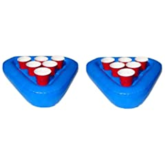 Buy GoPong Pool Pong Rack Floating Beer Pong Set, Includes 2 Rafts and 3 Pong Balls by GoPong