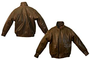 Carroll Leather Bomber Style Jacket (Brown, Medium)
