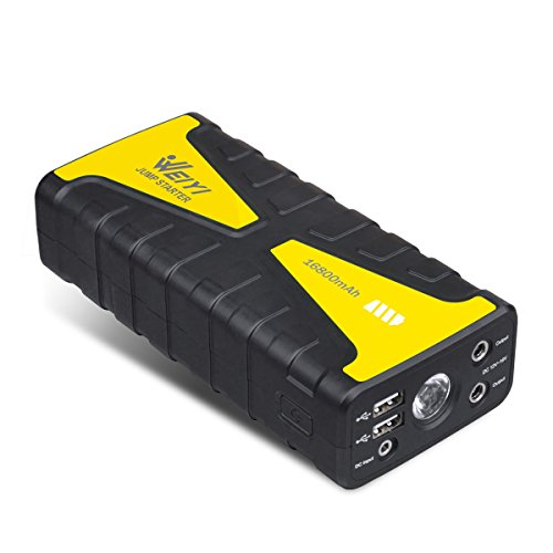 Weiyi 800A Peak Current 16800mAh Portable Car Jump Starter With Bright LED Light & SOS & and External High Rate Multivariate Battery Charger with 2 USB Ports (Yellow) (Peak Performance Jump Starter compare prices)
