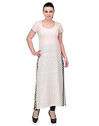 UNNO Boutique Beige Color Chikan Fabric Women's Straight Kurti