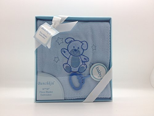 "Baby Gift Set - Fleece Blanket w/Rattle 30x30"" (Blue)"