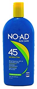 No-Ad Spf45 Sunscreen Lotion 16oz (3 Pack)