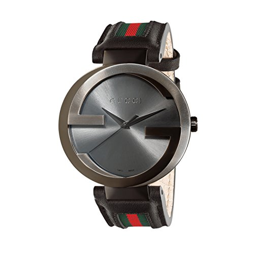 Gucci Interlocking G Collection Men's Quartz Watch with Black PVD case, Black Dial Analogue Display and Leather...