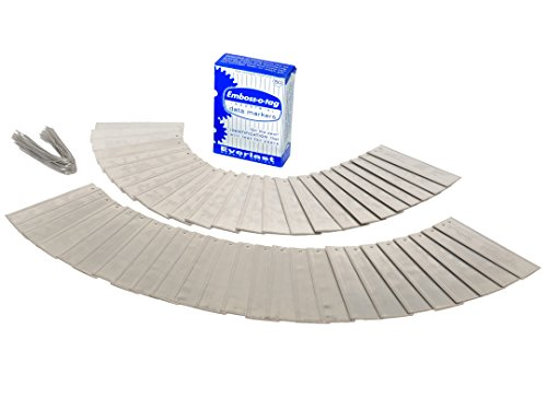 Double Sided Write On Metal Labels for Outdoor, Gardening, and High Durability Applications; Emboss-O-Tag Aluminum Plant Tags with 6 Inch Wires for Extreme Weather Use (Pack of 50)