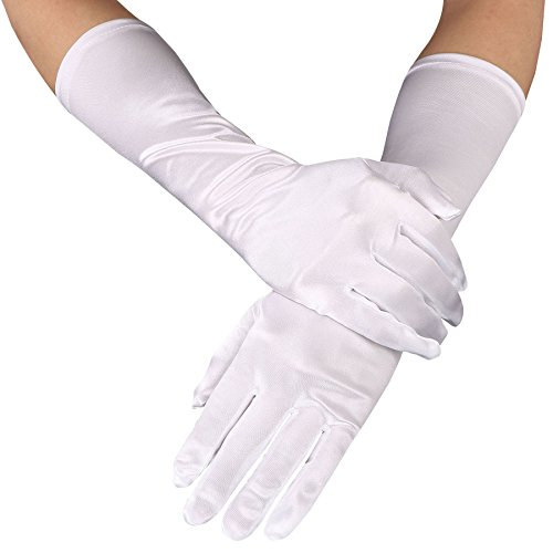 Ashopz Womens 15 inch Long Opera Length Satin Party Bridal Dance Dress Gloves,White, White 15 inch, One Size