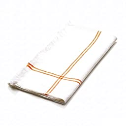 4 Piece Orange Napkin, (Set Of 4), Machine Washable, Stripe Pattern, Casual And Contemporary Style, Square Shape, Hand-Woven, Everyday Or Special Occasions, Decorative, Cotton Material, Tangerine