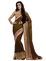 Look N Buy Chiffon Saree With Blouse Piece(58S1009_Brown)
