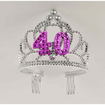 Forum Novelties Happy Birthday 40th Silver Pink Tiara