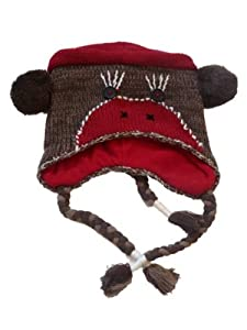 JCP Womens Brown Knit Sock Monkey Trapper Hat Fleece Lined Pom Critter Aviator